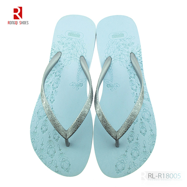 China latest design laser printing women EVA flip flops