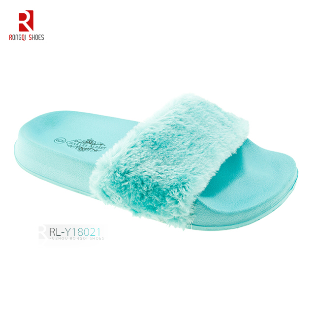 Faux fur PVC slide slippers for ladies