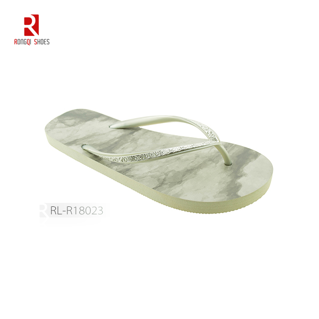 Transfer printed pe outsole solid color pvc strap women flip flop