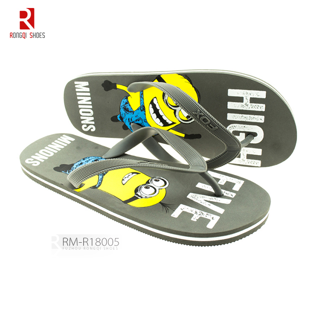 Cartoon durable printing outdoor summer men's PE flip-flops