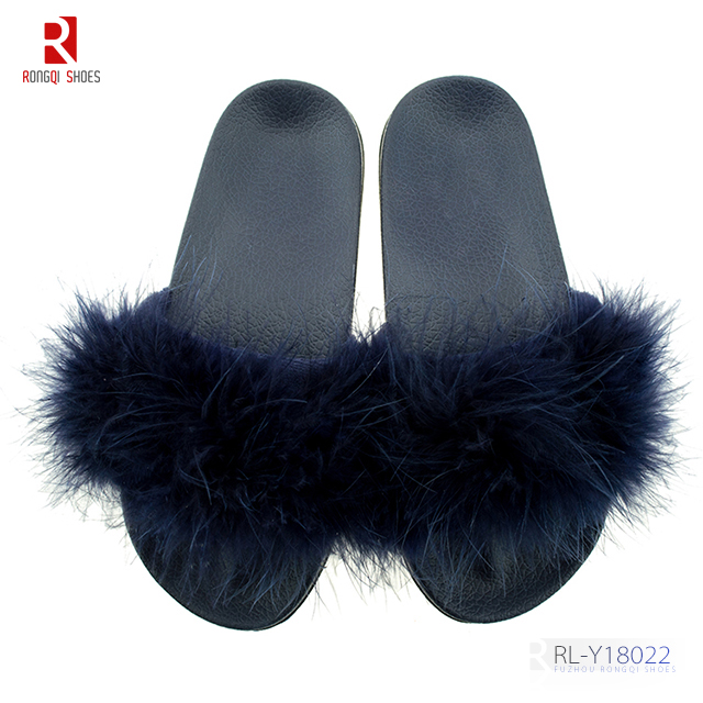 Latest design fur sliders for women