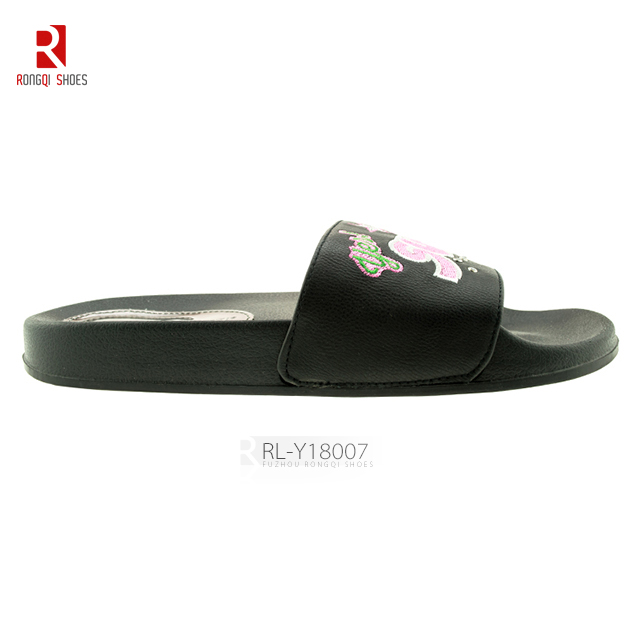 EVA sole with PU upper black simple slider slippers