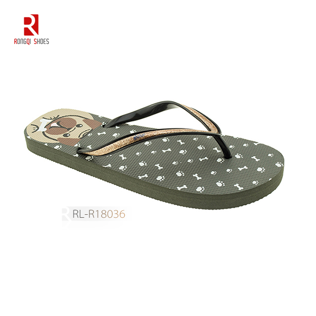 Cheap wholesale carton pattern customized beach PE flip flops for women