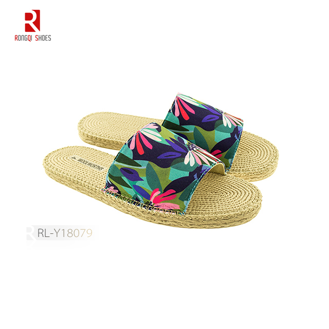Upper fabric hemp sole wholesale cheap manufactory women slippers